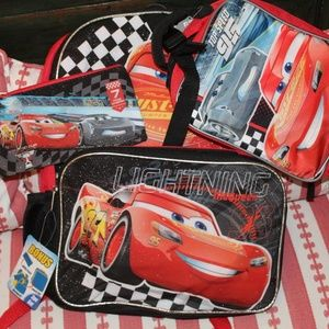 NWT Disney cars backpack lunch bag pencil case set